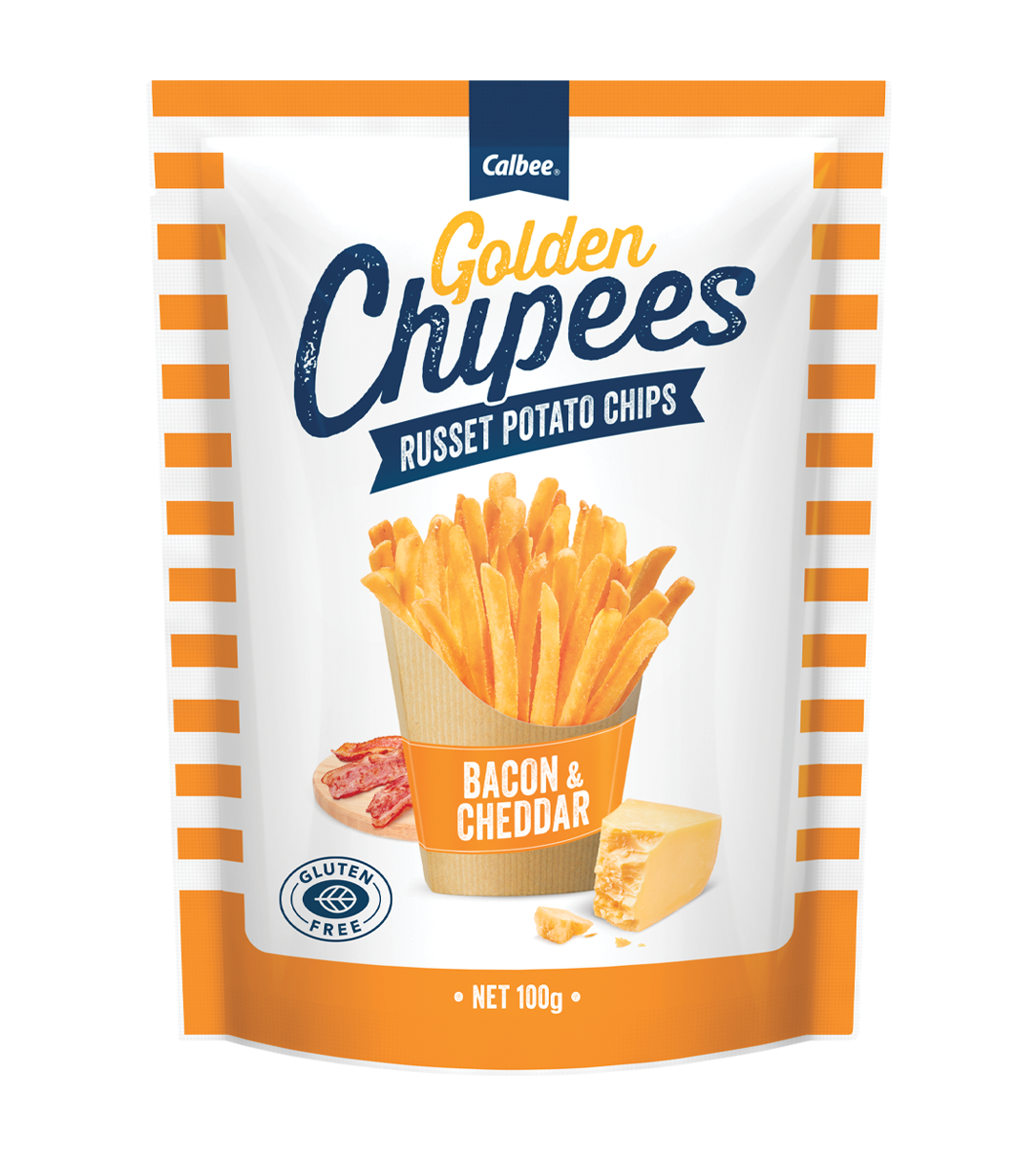 Calbee Australia - Golden Chipees - Russet Potato Chips - Cheese & Bacon