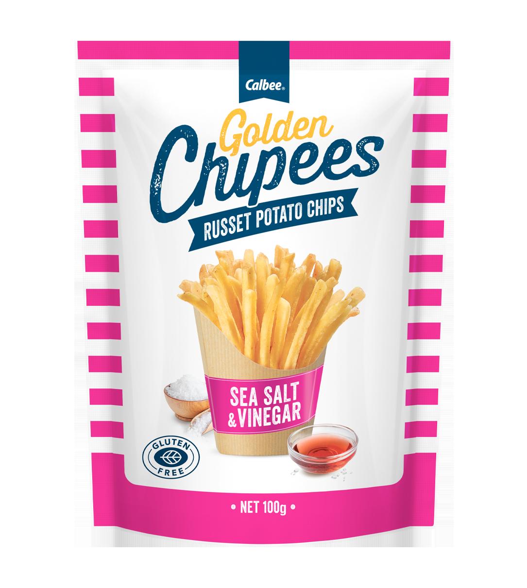 Calbee Australia - Golden Chipees - Russet Potato Chips - Sea Salt & Vinegar
